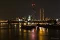 Rheinturm, Rheinkniebrücke und Medienhafen von der Oberkasseler Brücke aus fotografiert